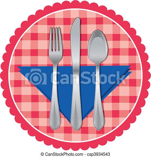 Spoon, fork & knife on table cloth - csp3934543