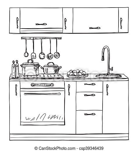 vektoren von geschirrschrank hand regale kueche gezeichnet csp39346439 suchen sie. Black Bedroom Furniture Sets. Home Design Ideas