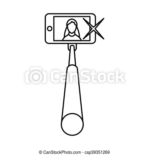 clip art vector of selfie stick with mobile phone icon outline style selfie csp39351269. Black Bedroom Furniture Sets. Home Design Ideas