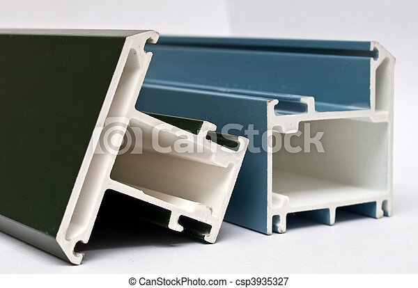 Fiber glass pultruded profile for windows and doors manufacturing. Blue. - csp3935327