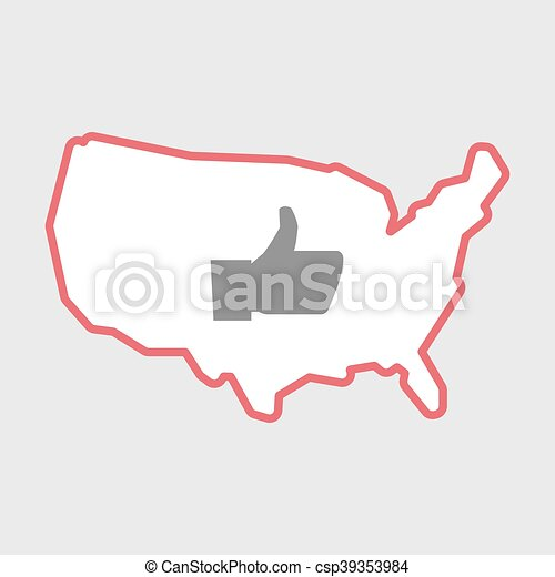 Isolated line art  USA map icon with a thumb up hand - csp39353984
