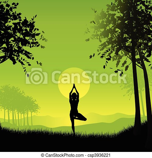 Female in yoga pose - csp3936221