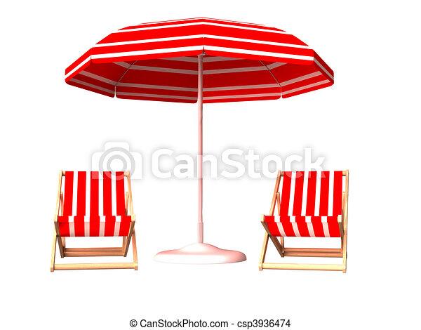 Stock illustration red beach chair and umbrella stock illustration