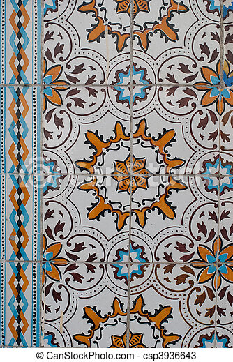 Traditional Portuguese glazed tiles - csp3936643