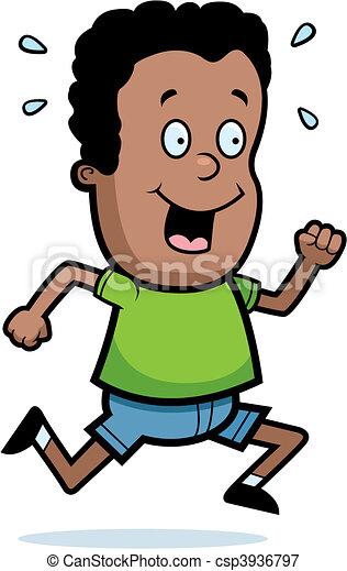 Black boy cartoon child exercise illustration jogging kid Clip Art ...