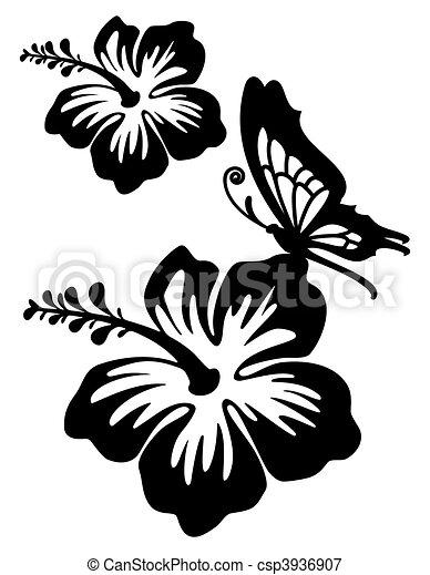 Illustrations de hibiscus silhouette hibiscus silhouette dans deux csp3936907 - Dessin hibiscus ...