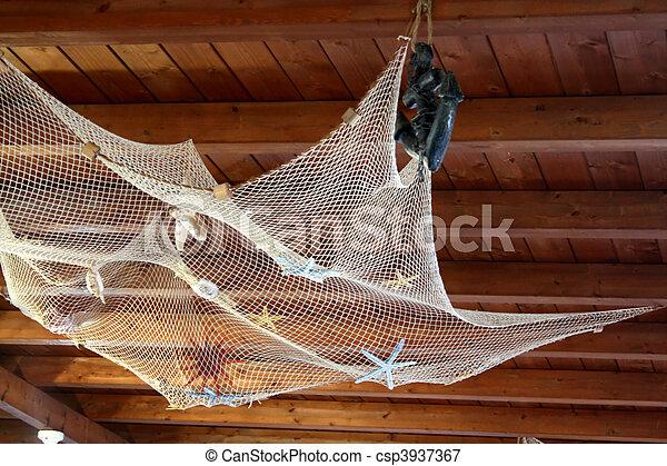 image de peche filet sur bois plafond d corations et csp3937367 recherchez des. Black Bedroom Furniture Sets. Home Design Ideas