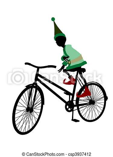 Christmas Elf With A Bycycle Silhouette Illustration - csp3937412
