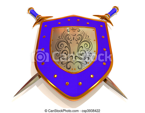 Shild with Sword. Security. 3d - csp3938422