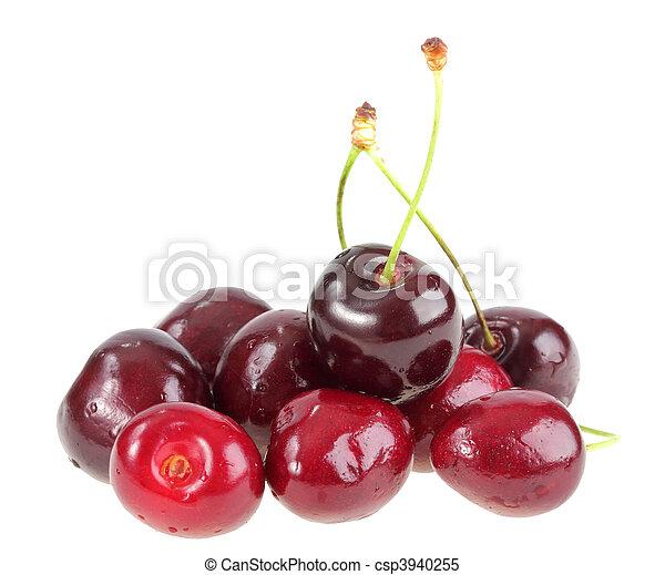 Heap of a dark-red sweet-cherry - csp3940255