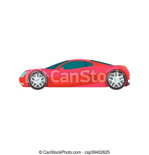 Vector Illustration Of Sport Muscle Car Red Flat Icon Vector