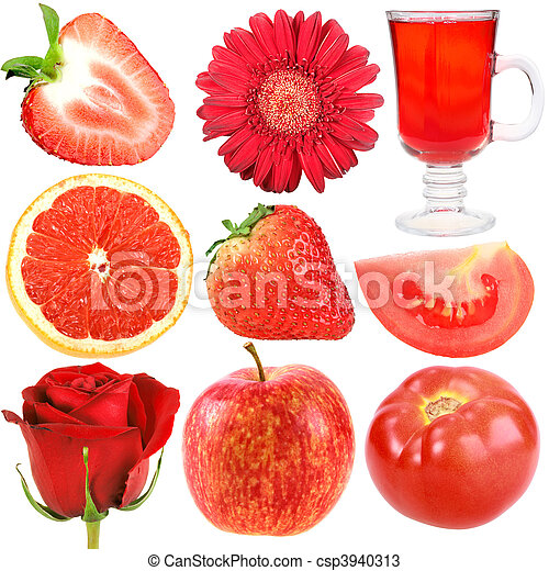 Set of red fruits, vegetables and flowers - csp3940313