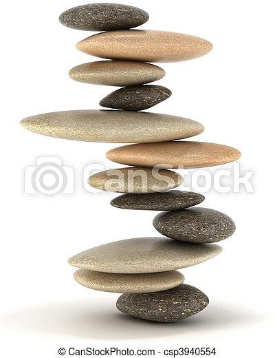estabilidad, equilibrado, piedra,  zen, torre - csp3940554
