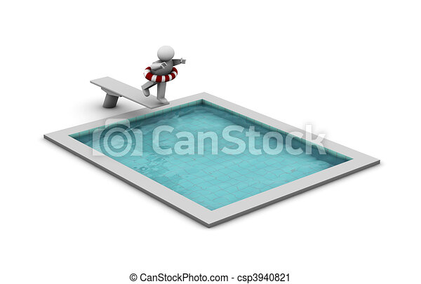 Clipart of dip in the pool one 3d man diving into a for Swimming pool drawing