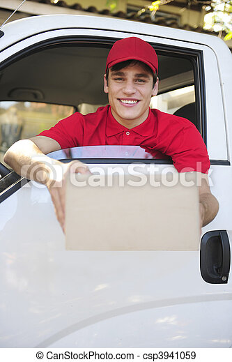 delivery courier in van delivering package  - csp3941059