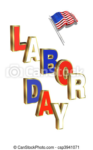 Labor Day illustration with American flag and 3D text on white ...