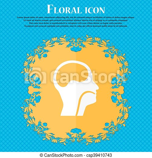 larynx, Medical Doctors Otolaryngology icon. Floral flat design on a blue abstract background with place for your text. Vector - csp39410743