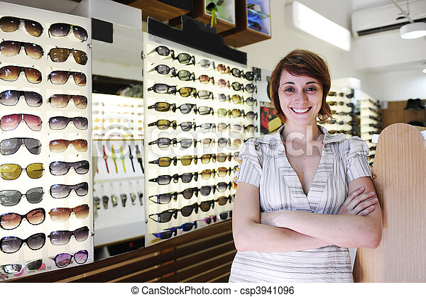 small business: proud owner of a sunglasses store - csp3941096