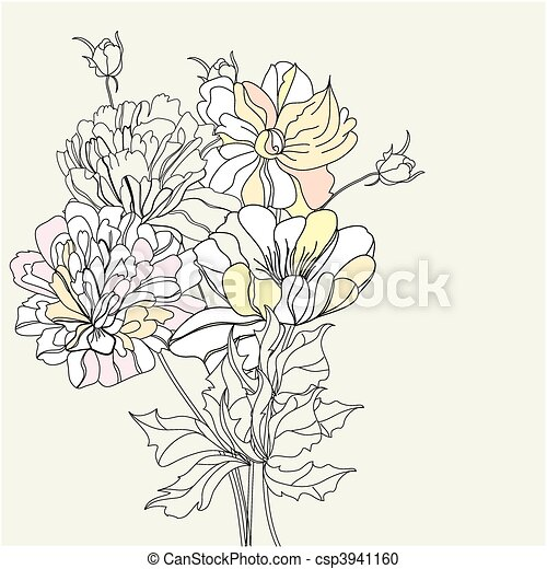 Decorative background with flowers - csp3941160