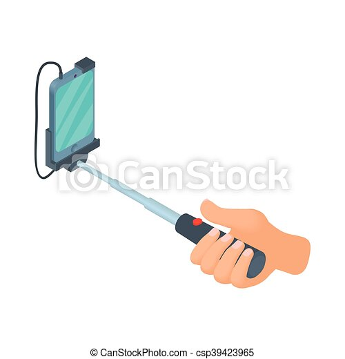 clip art vector of hands holding selfie stick with smartphone icon in cartoon csp39423965. Black Bedroom Furniture Sets. Home Design Ideas