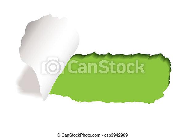 green paper slot tear - csp3942909