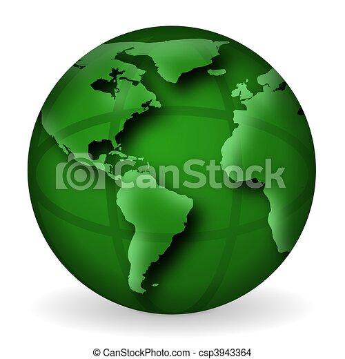 Green World Globe Illustration - csp3943364