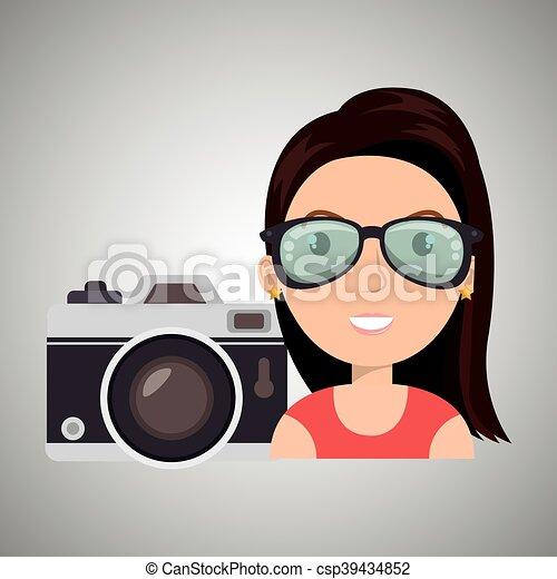 woman camera tickets travel - csp39434852