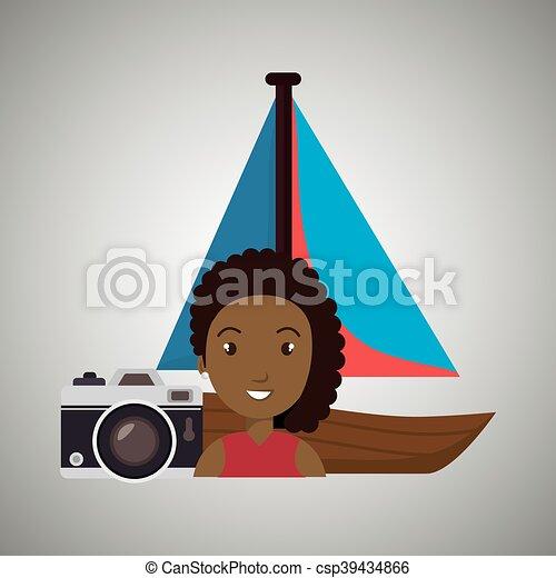 woman camera tickets travel - csp39434866