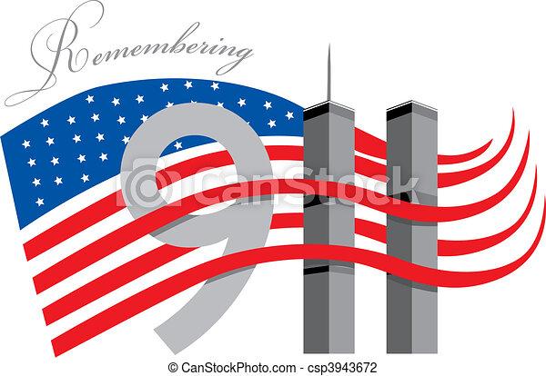 Remember 911 - World trade centre w - csp3943672