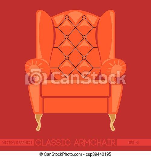 Sessel clipart  EPS Vektoren von b.a., klassisch, sessel, aus, orange, rotes ...
