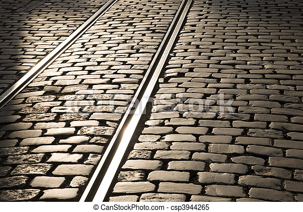 Tram tracks in Ghent, Belgium, Europe - csp3944265