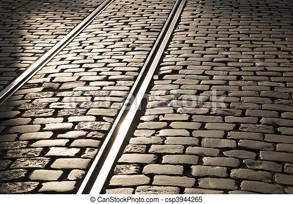 Tram tracks in Ghent, Belgium, Europe - csp3944265