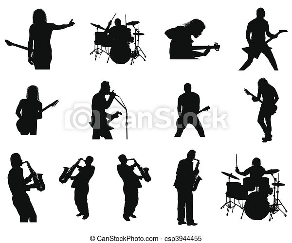 set of rock and jazz silhouettes - csp3944455