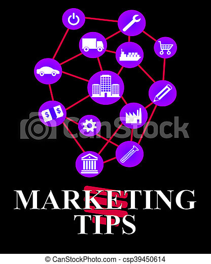 Marketing Tips Shows EMarketing Advice And Promotions - csp39450614