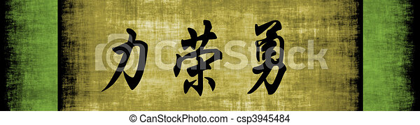 Strength Honor Courage Chinese Motivational Phrase - csp3945484