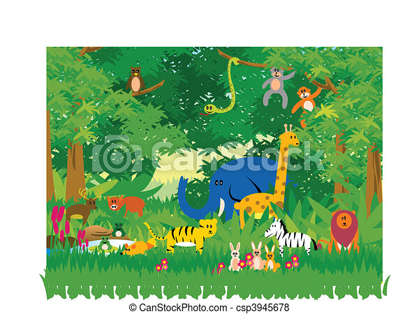 selva, en, caricatura - csp3945678