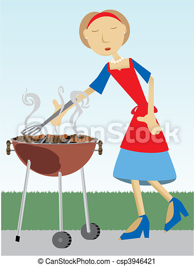 Woman cooking at BBQ outside - csp3946421