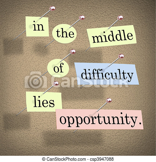 In the Middle of Difficulty Lies Opportunity - csp3947088