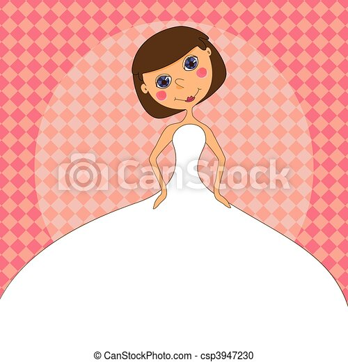 Wedding invitation with a cartoon Bride in a white wedding dress - csp3947230