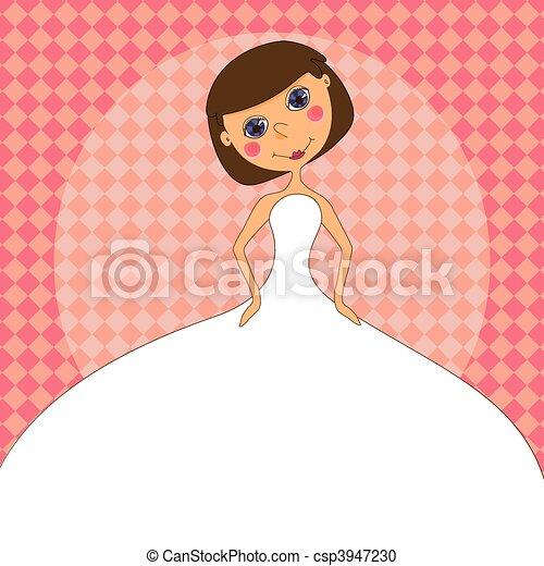 Wedding invitation with a cartoon Bride in a white wedding dress - csp3947230