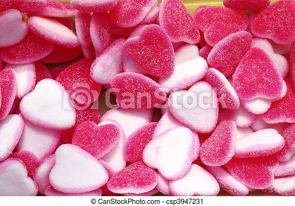 jelly sweets candy pink white heart shape - csp3947231