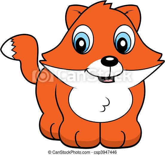 Clip Art de vectores de bebé, zorro - Un, caricatura, bebé, zorro ...