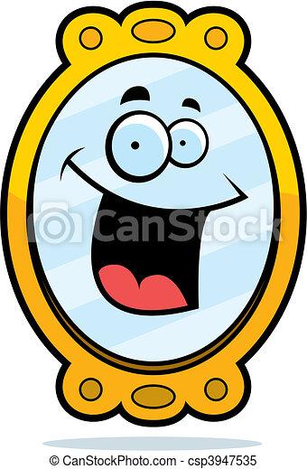 Clipart vectorial de sonriente, espejo - Un, caricatura ...