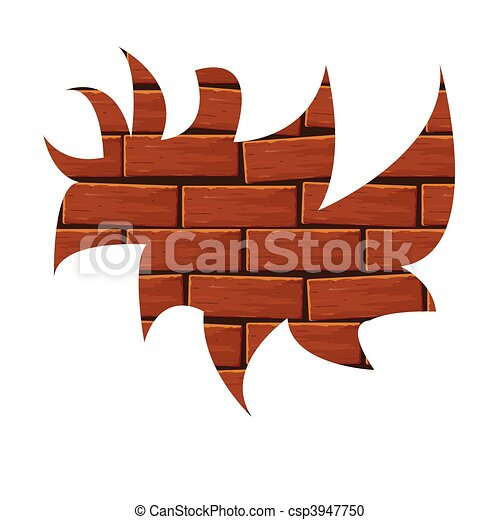 Blot from a red brick. Vector  - csp3947750