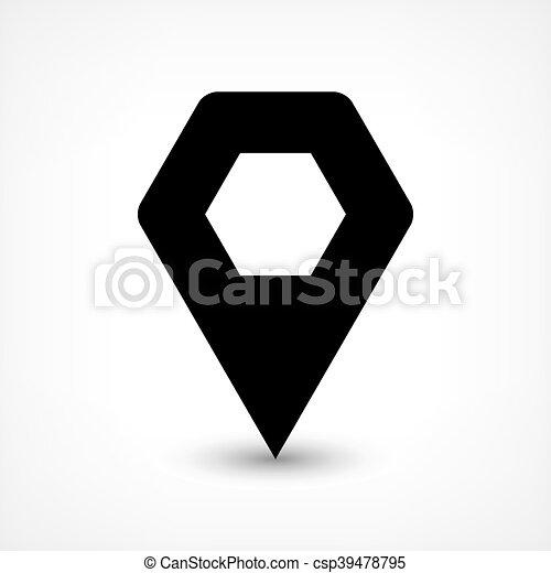 Black map pin flat location sign hexagon icon - csp39478795