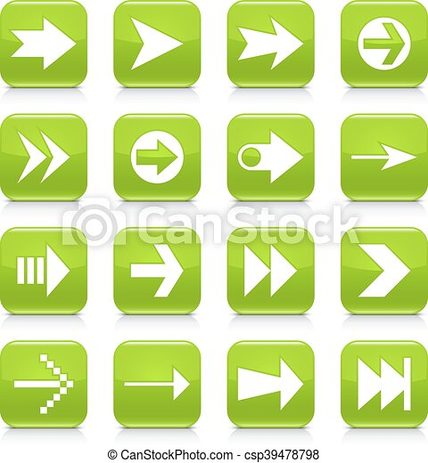 Green arrow sign rounded square icon web button - csp39478798