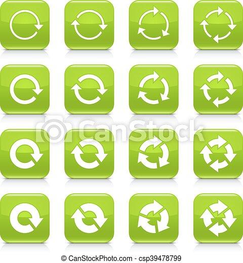 Green arrow repeat sign square icon web button - csp39478799