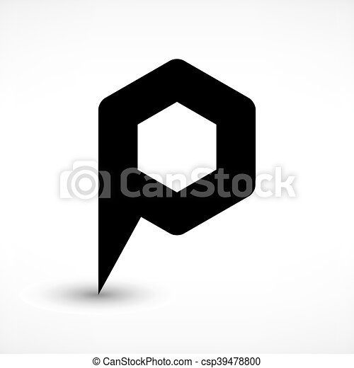 Black map pin flat location sign hexagon icon - csp39478800