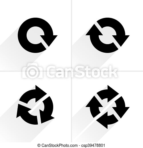 Black arrow loop, refresh, reload, rotation icon - csp39478801