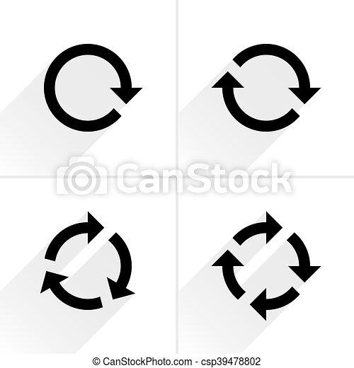 Black arrow loop, refresh, reload, rotation icon - csp39478802